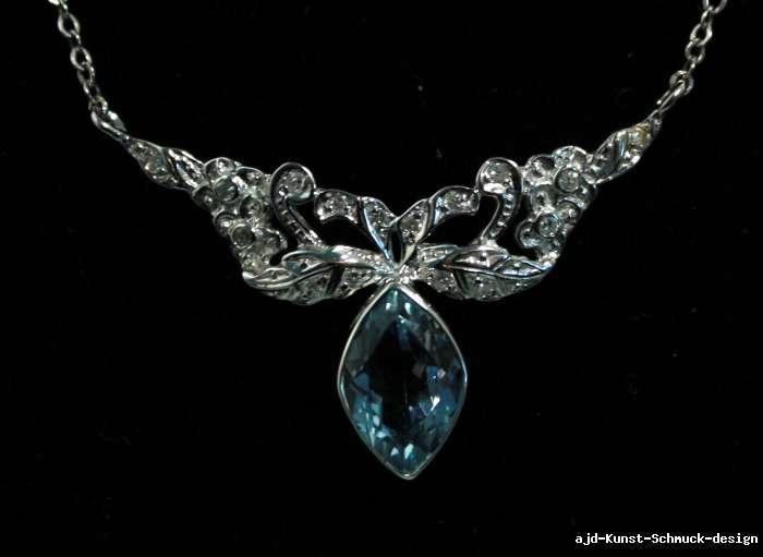 Antiker schmuck  Antik 585er Gold Collier + echter Aquamarin + 16 echte Diamanten + ...