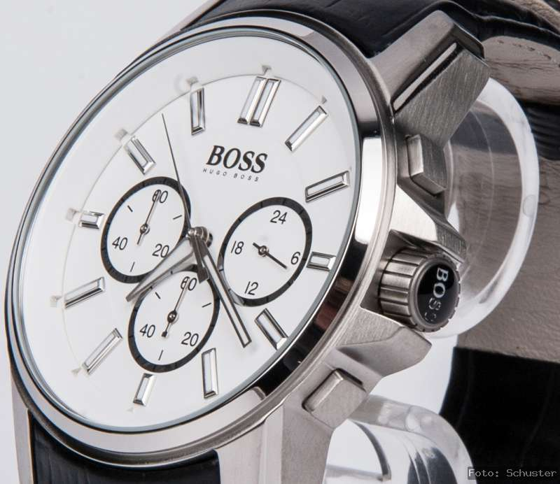 hugo boss herren chrono chronograph uhr neu leder armband schwarz hb. Black Bedroom Furniture Sets. Home Design Ideas