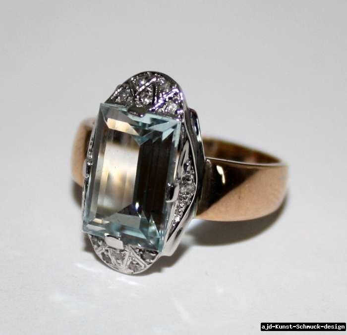 Antik 585er Gold Ring echter 3,5 ct Aquamarin + 12 echte Diamanten