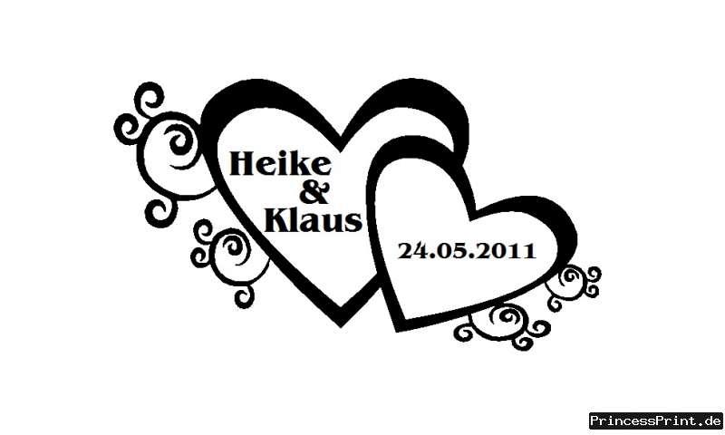 Wandtattoo Geschenk Hochzeit Herz Liebe Namen Datum XL  eBay
