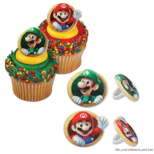 super mario bros luigi anelli mitgebsel compleanno muffin tortendeko party panecos ebay. Black Bedroom Furniture Sets. Home Design Ideas