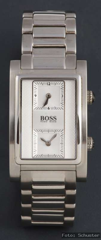 hugo boss black edelstahl silber herren uhr dual time neu. Black Bedroom Furniture Sets. Home Design Ideas