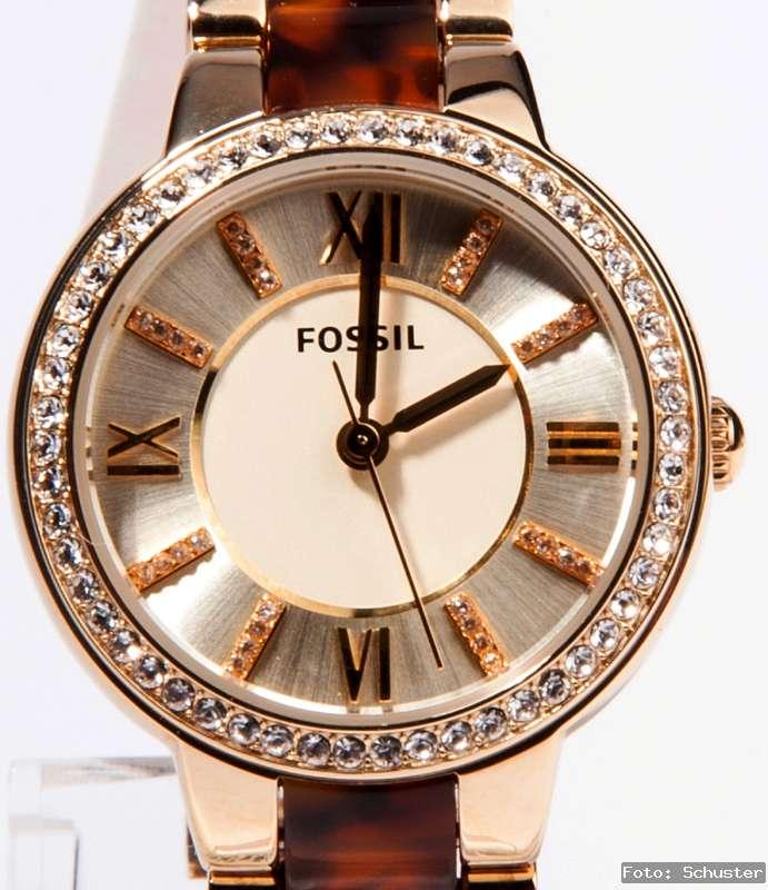 fossil edelstahl damen uhr damenuhr gold strass uhr neu. Black Bedroom Furniture Sets. Home Design Ideas
