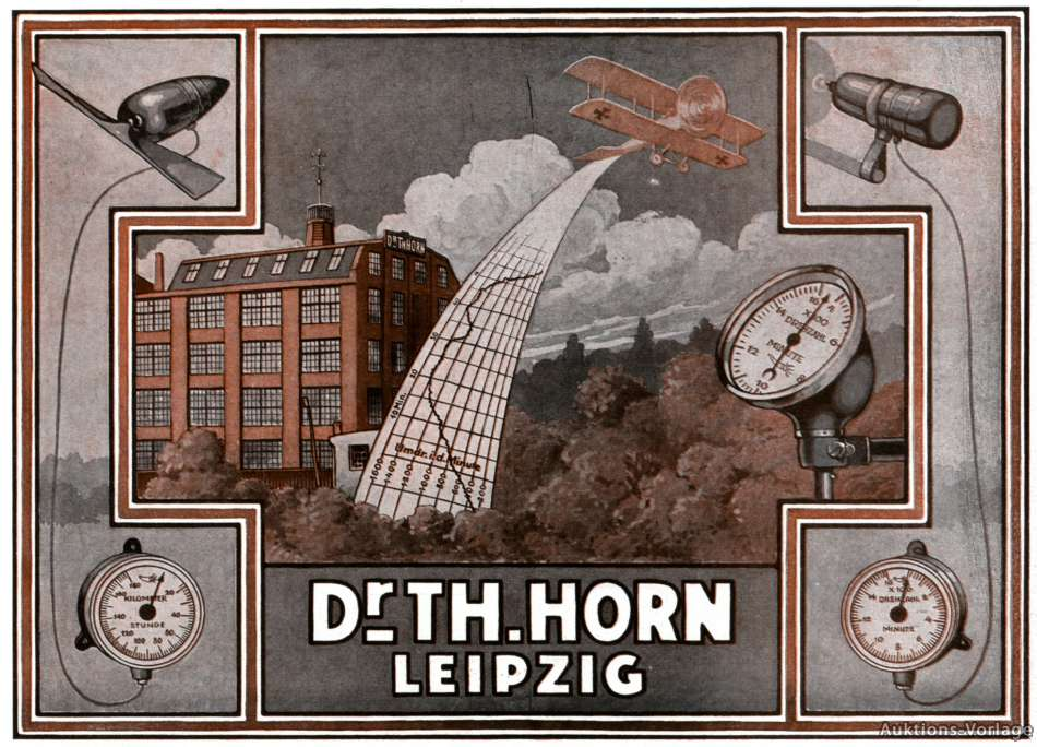 Tachomoter & Drehzahlmesser Horn Leipzig Reklame 1917 Flugzeug ...