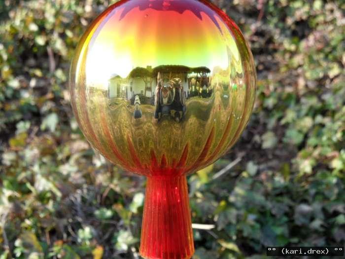 Große Rosenkugeln Gold Glaskugeln Gartenkugeln Garten Balkon Rosenkugel 8cm
