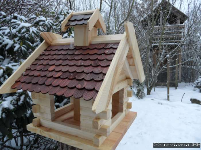 Robustes Vogelhaus aus Holz Vogelhäuschen Futterhaus Futterhäuschen Futtersilo